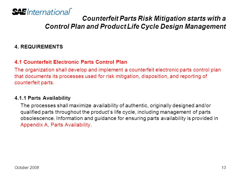 Counterfeit Parts Risk Mitigation starts with a Control Plan and Product Life Cycle Design Management