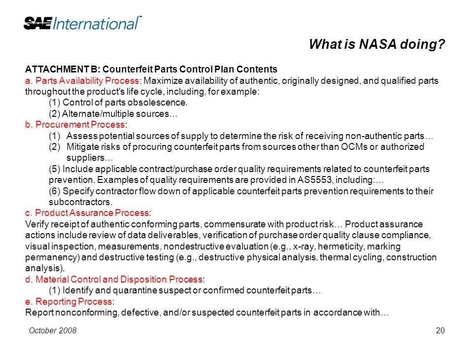 What is NASA doing ATTACHMENT B: Counterfeit Parts Control Plan Contents.