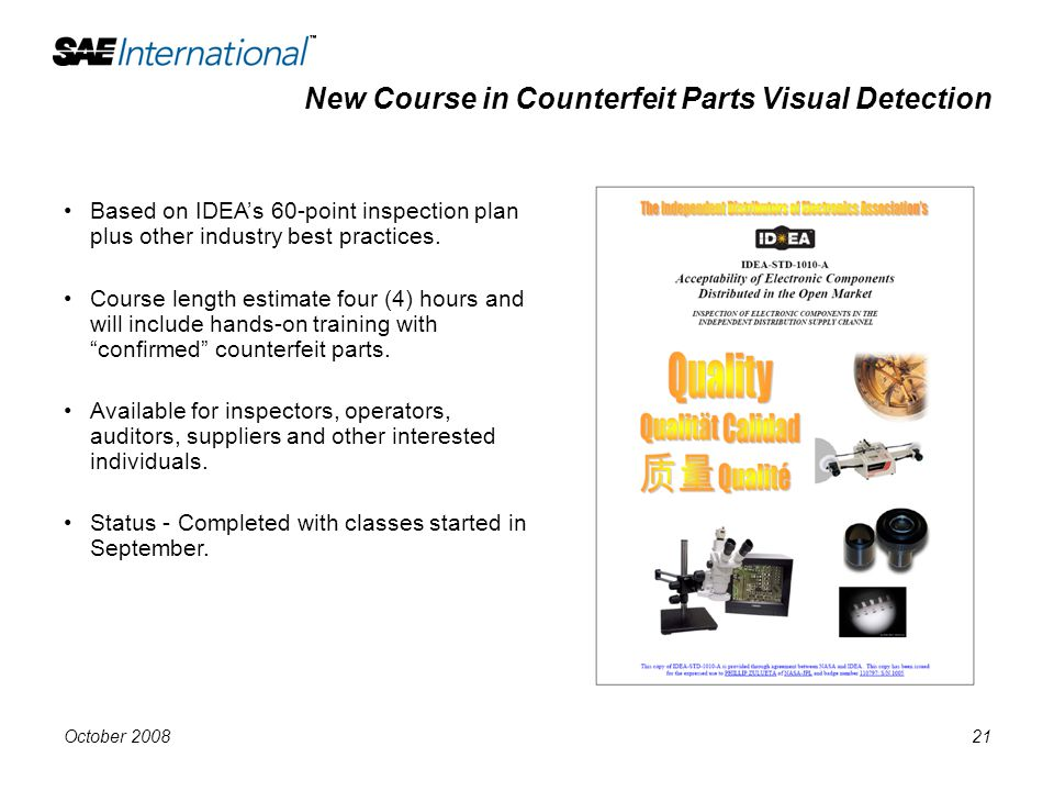 New Course in Counterfeit Parts Visual Detection