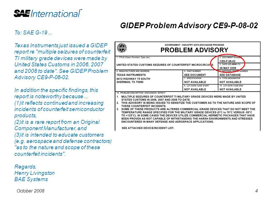 GIDEP Problem Advisory CE9-P-08-02