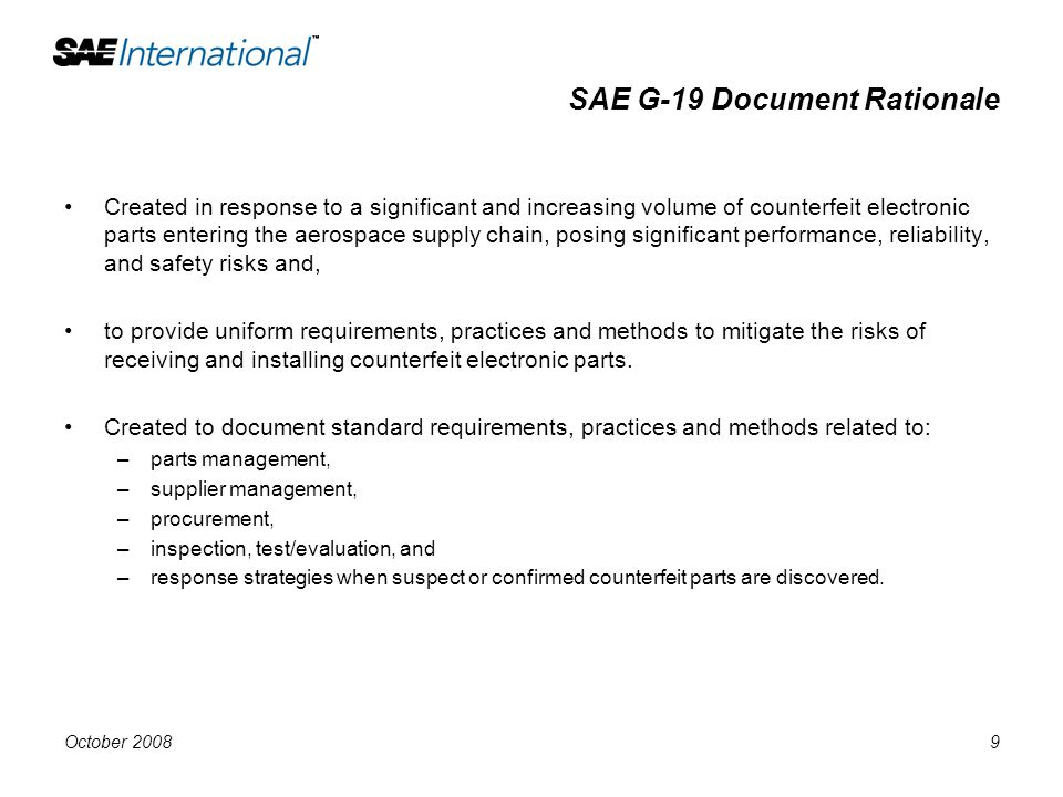 SAE G-19 Document Rationale
