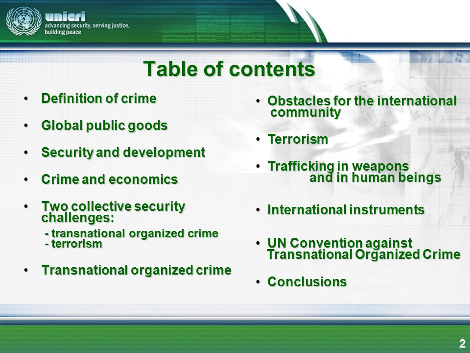 Table of contents Definition of crime