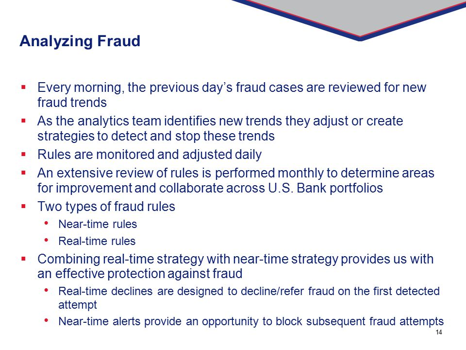 Analyzing Fraud Every morning, the previous day's fraud cases are reviewed for new fraud trends.