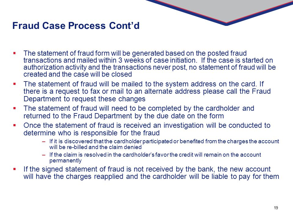 Fraud Case Process Cont'd