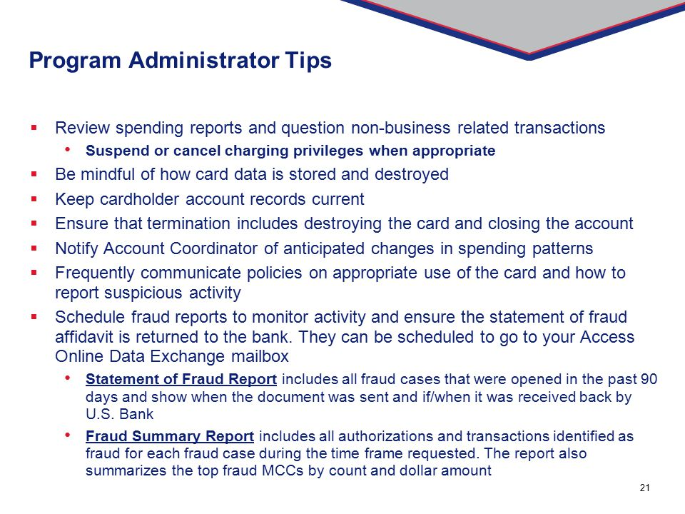 Program Administrator Tips