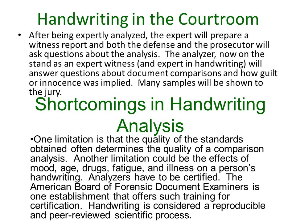 Handwriting in the Courtroom