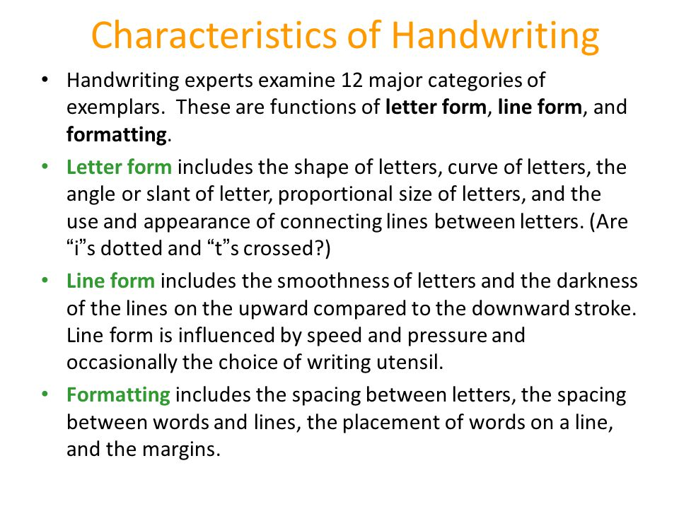 Characteristics of Handwriting