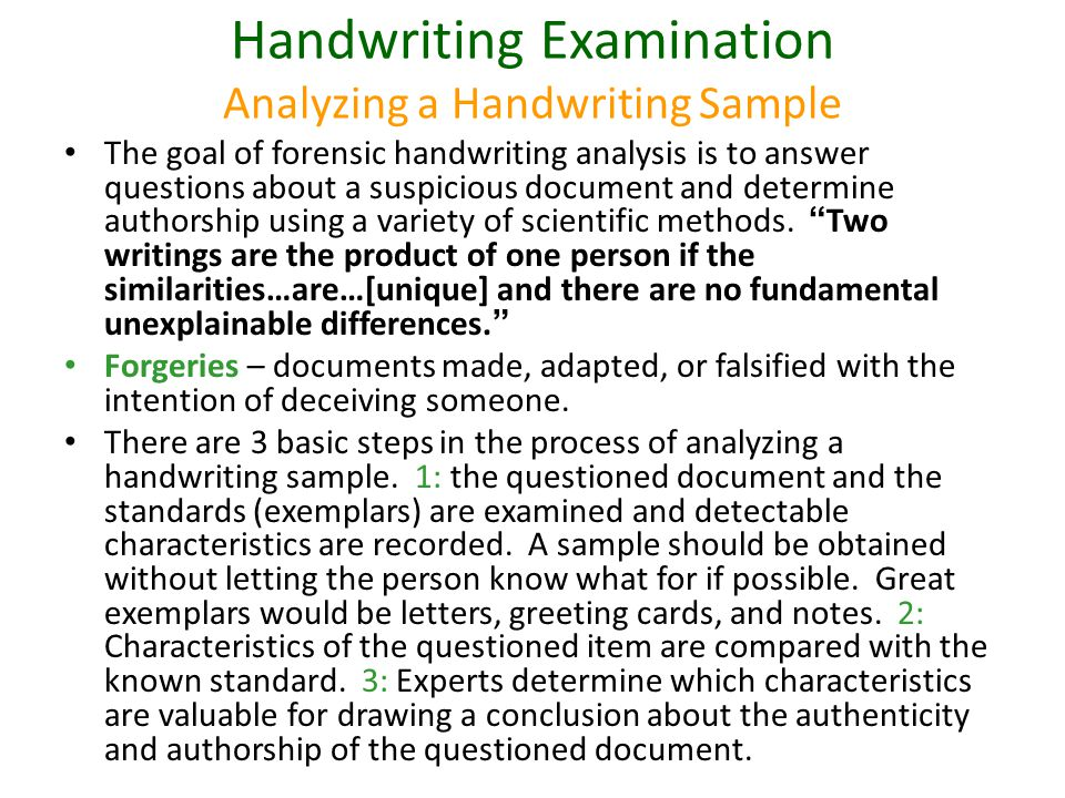 Handwriting Examination Analyzing a Handwriting Sample