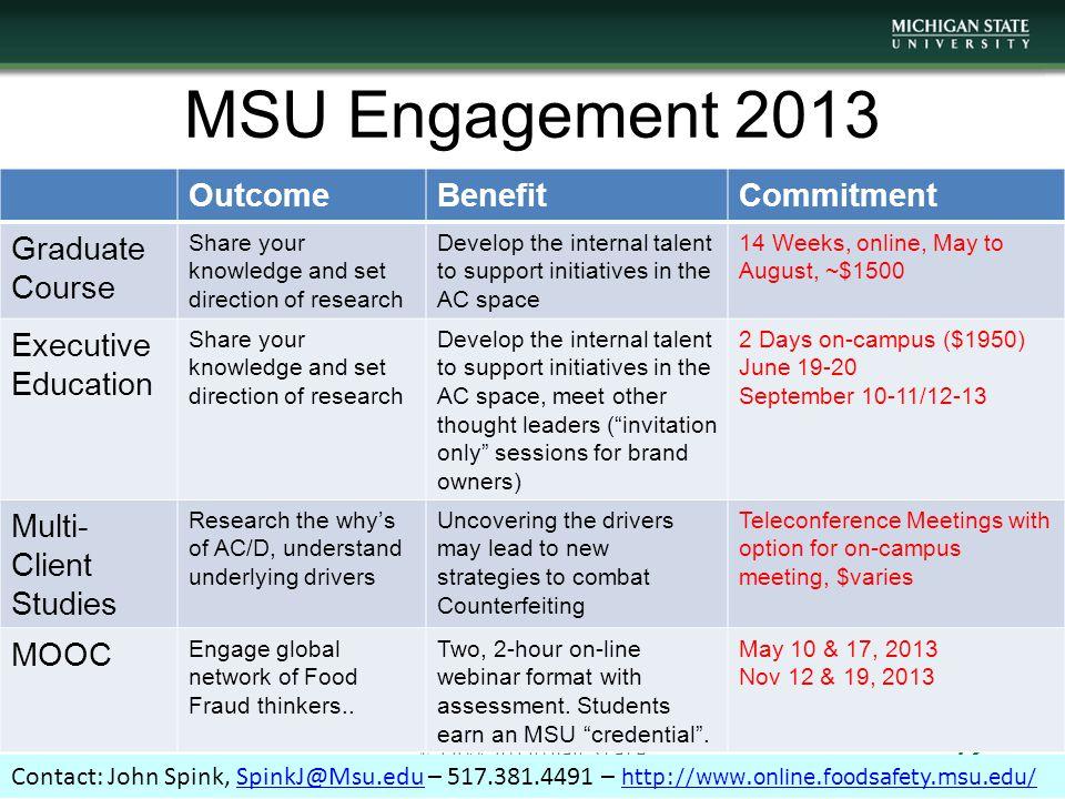 MSU Engagement 2013 Outcome Benefit Commitment Graduate Course