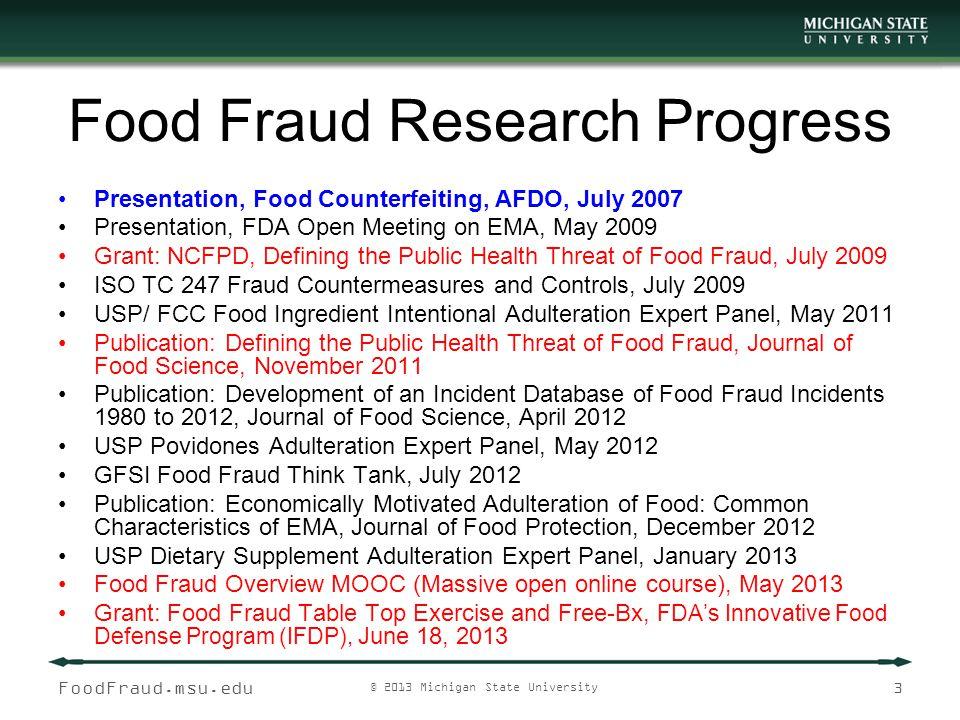 Food Fraud Research Progress