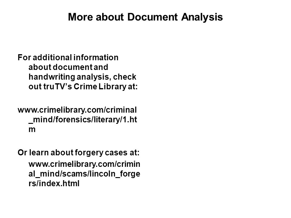 More about Document Analysis