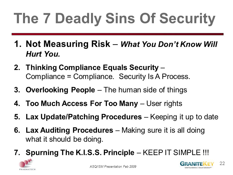 The 7 Deadly Sins Of Security