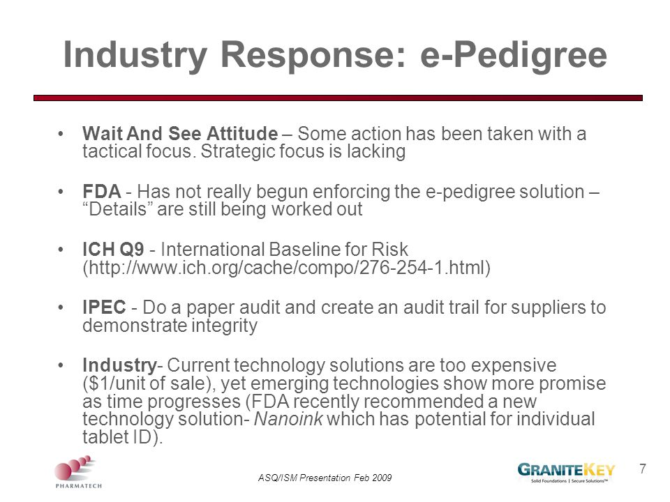 Industry Response: e-Pedigree