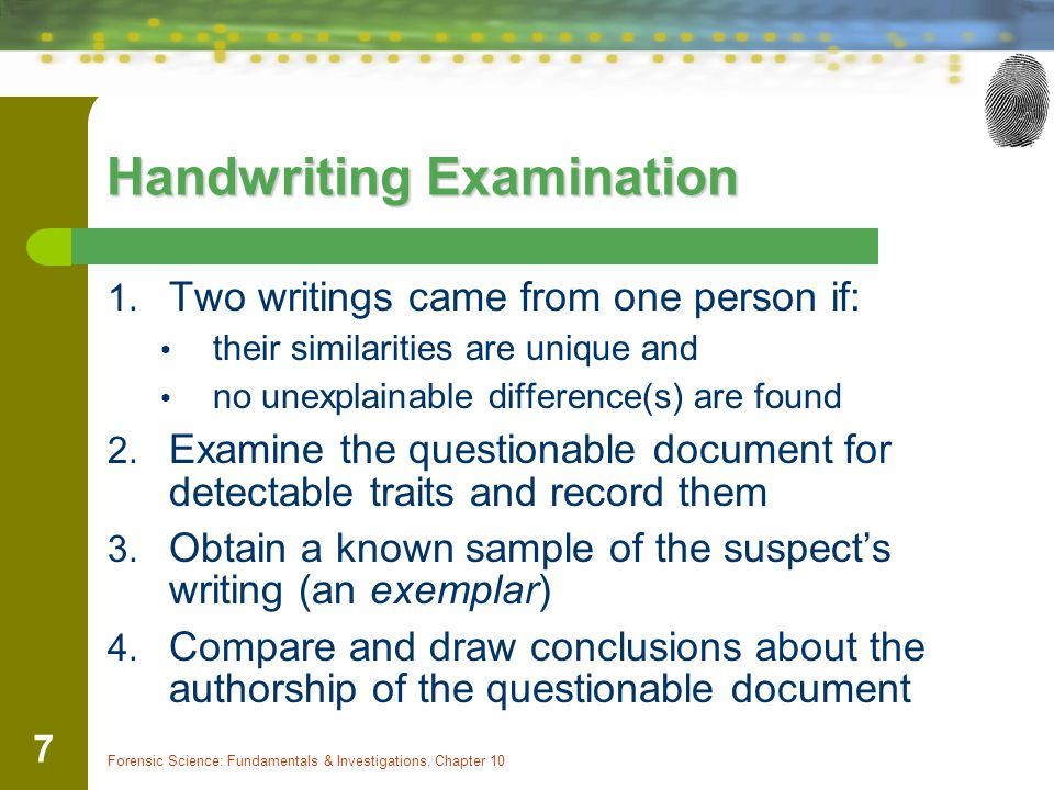 Questioned document examination