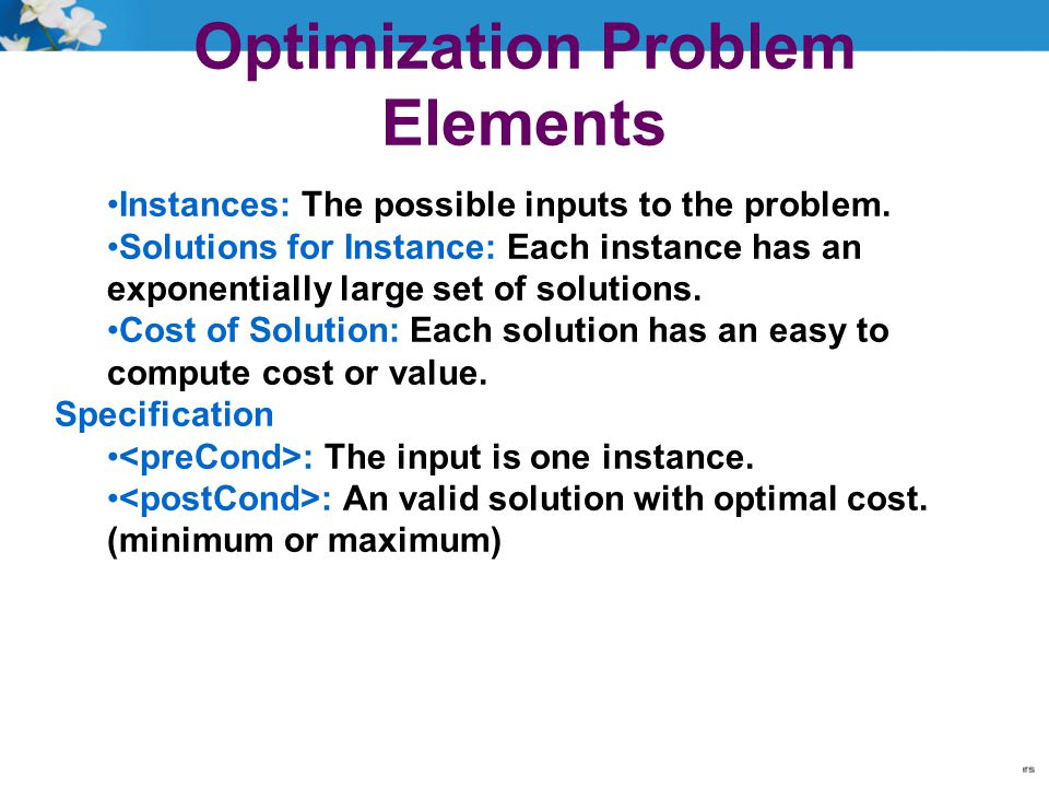 Optimization Problem Elements