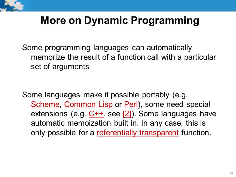 More on Dynamic Programming