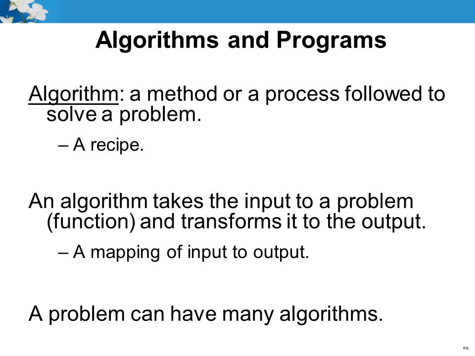 Algorithms and Programs
