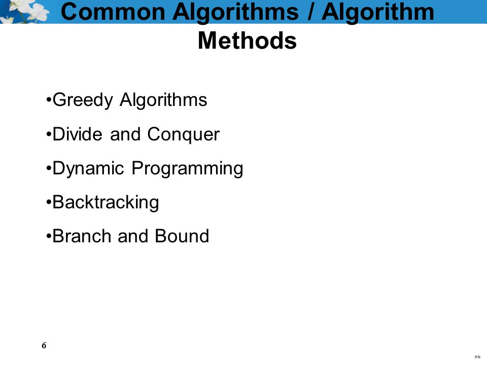 Common Algorithms / Algorithm Methods