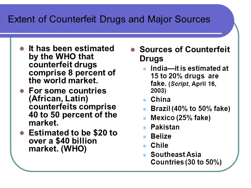 Extent of Counterfeit Drugs and Major Sources