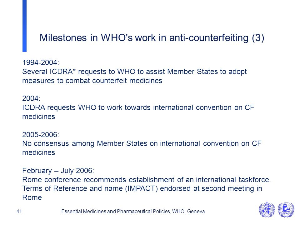 Milestones in WHO s work in anti-counterfeiting (3)