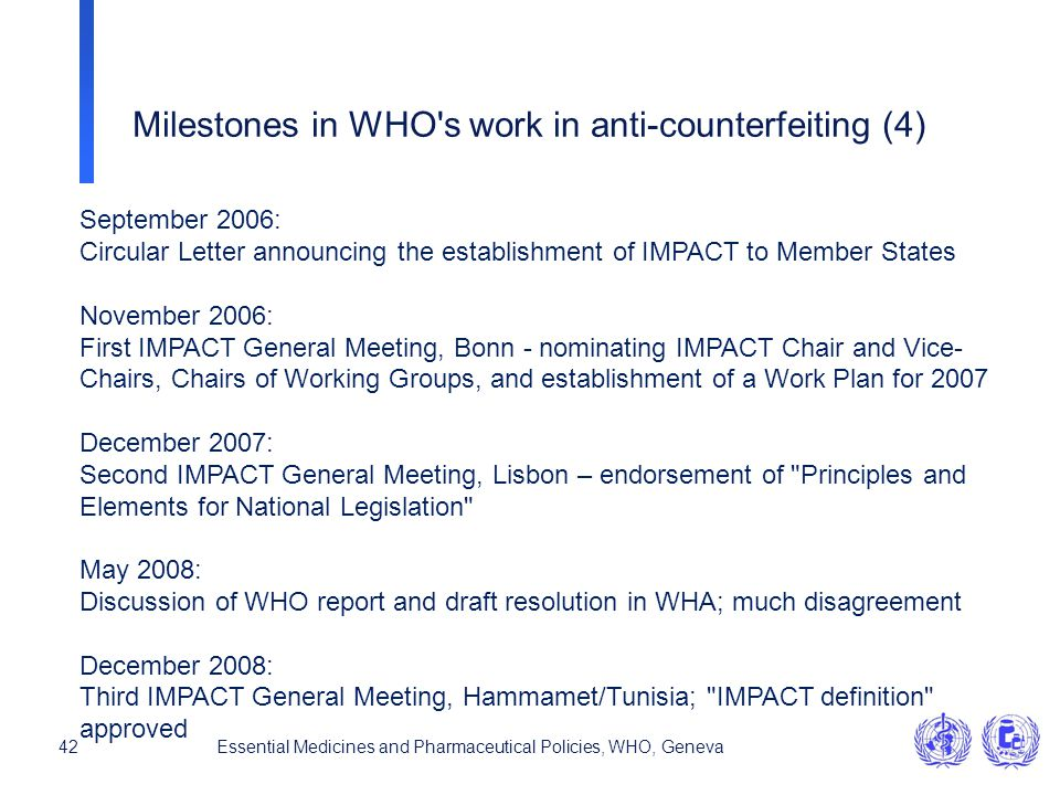Milestones in WHO s work in anti-counterfeiting (4)