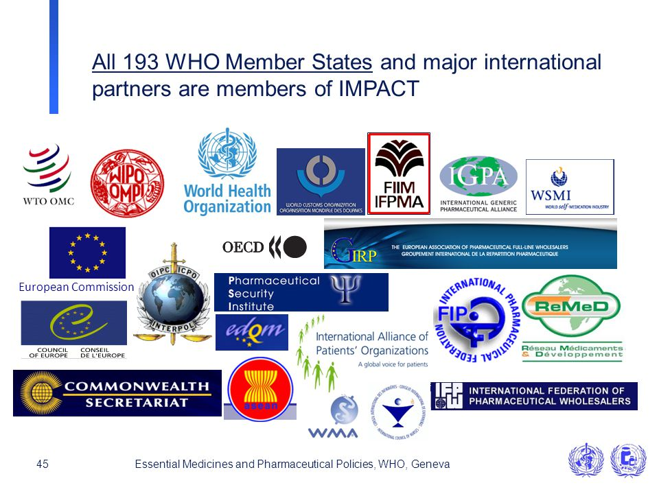 All 193 WHO Member States and major international
