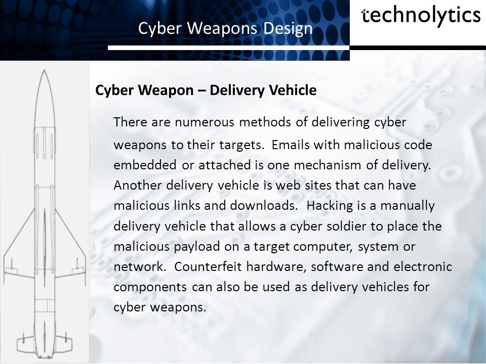 Cyber Weapons Design Cyber Weapon – Delivery Vehicle.