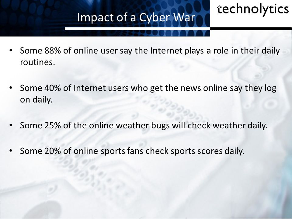 Impact of a Cyber War Some 88% of online user say the Internet plays a role in their daily routines.