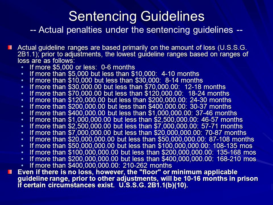 Sentencing Guidelines -- Actual penalties under the sentencing guidelines --