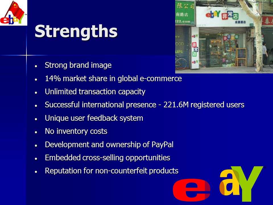 Strengths Strong brand image 14% market share in global e-commerce