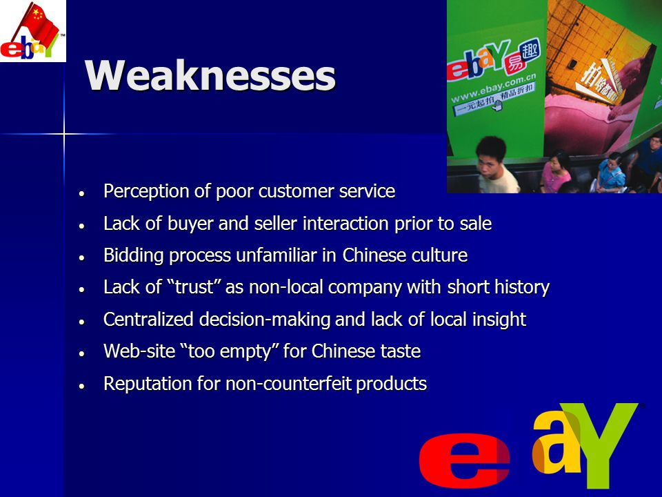 Weaknesses Perception of poor customer service