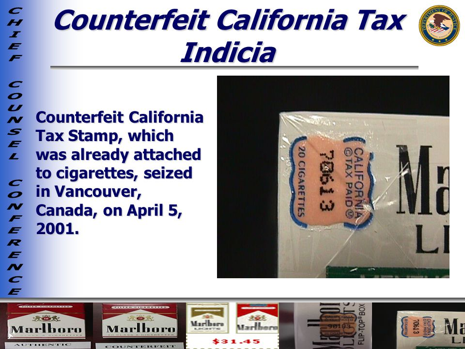 Counterfeit California Tax Indicia