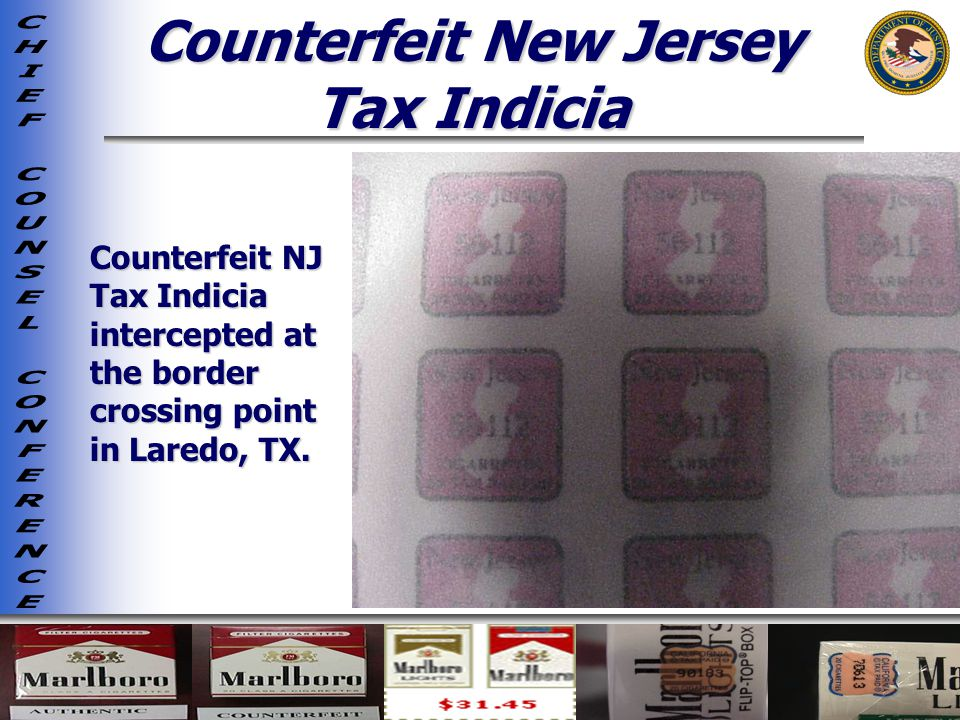 Counterfeit New Jersey Tax Indicia