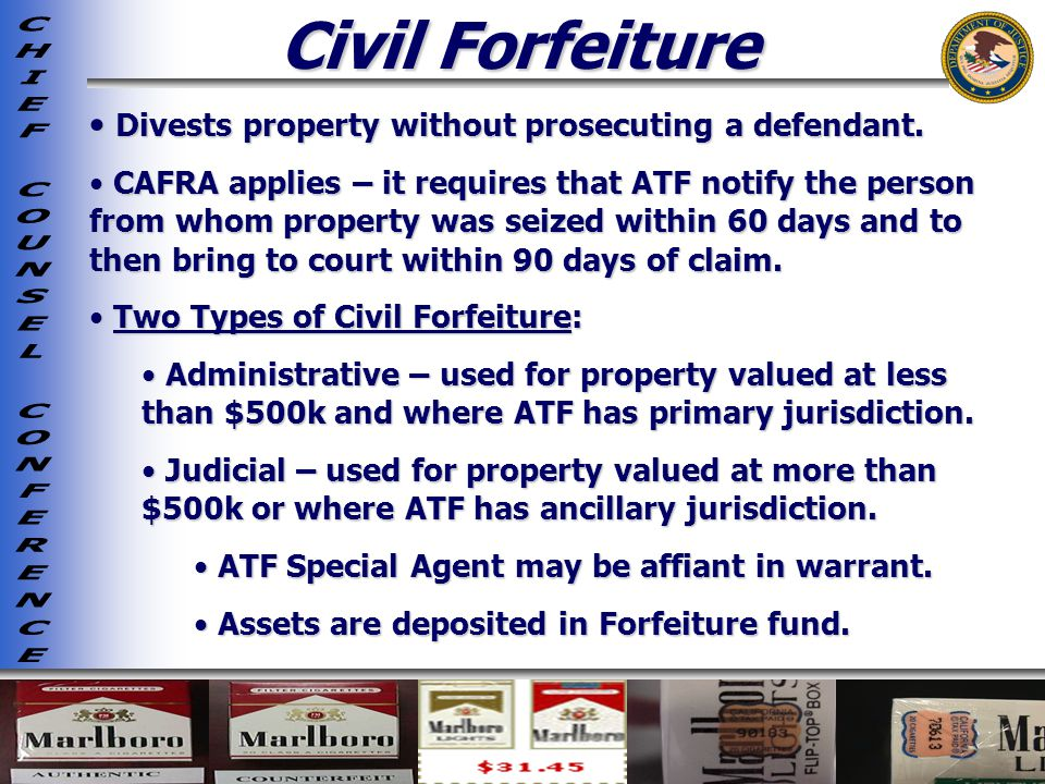 Civil Forfeiture Divests property without prosecuting a defendant.