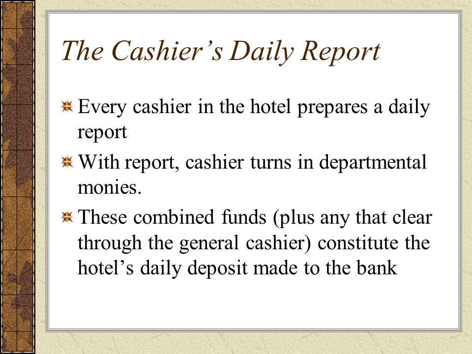 The Cashier's Daily Report