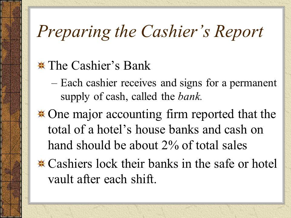 Preparing the Cashier's Report