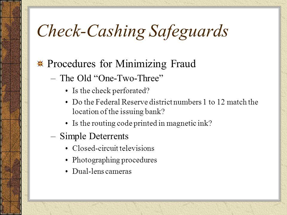 Check-Cashing Safeguards