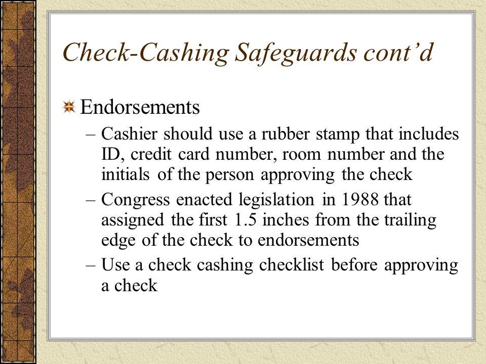 Check-Cashing Safeguards cont'd