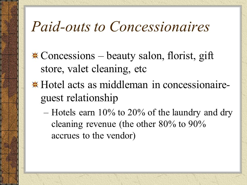 Paid-outs to Concessionaires