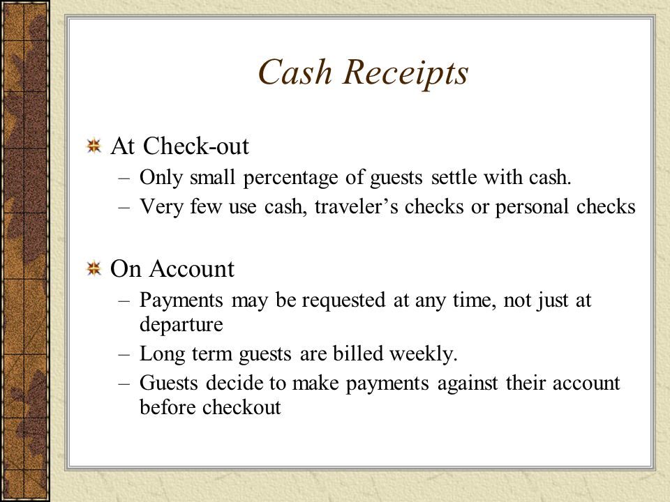 Cash Receipts At Check-out On Account