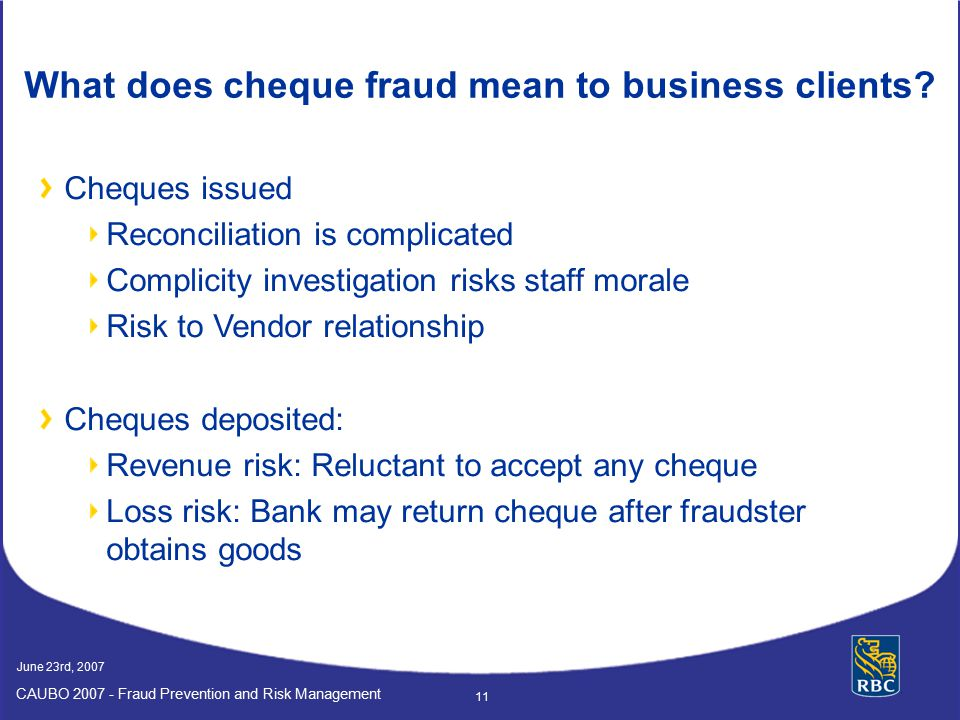 What does cheque fraud mean to business clients