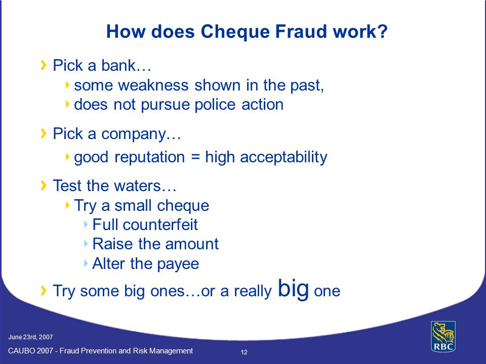 How does Cheque Fraud work