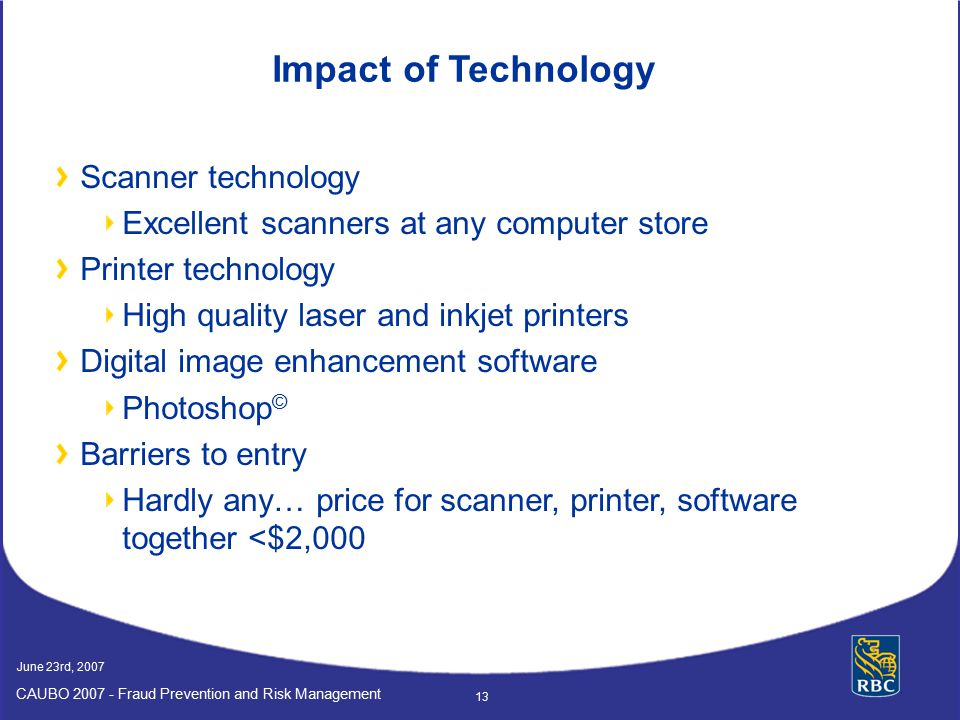 Impact of Technology Scanner technology