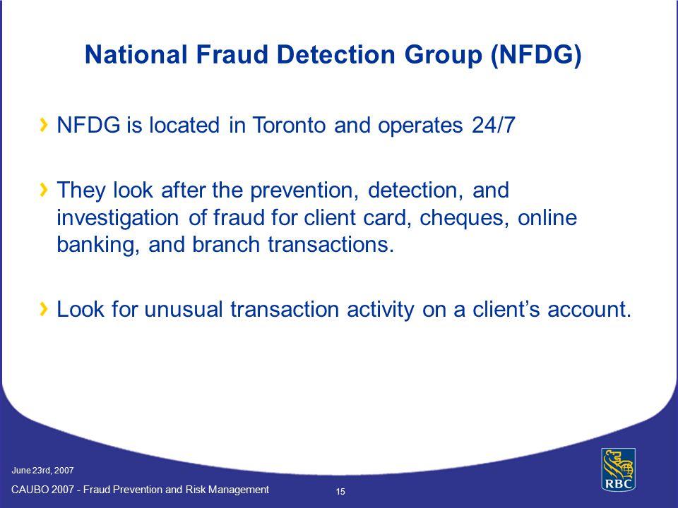 National Fraud Detection Group (NFDG)