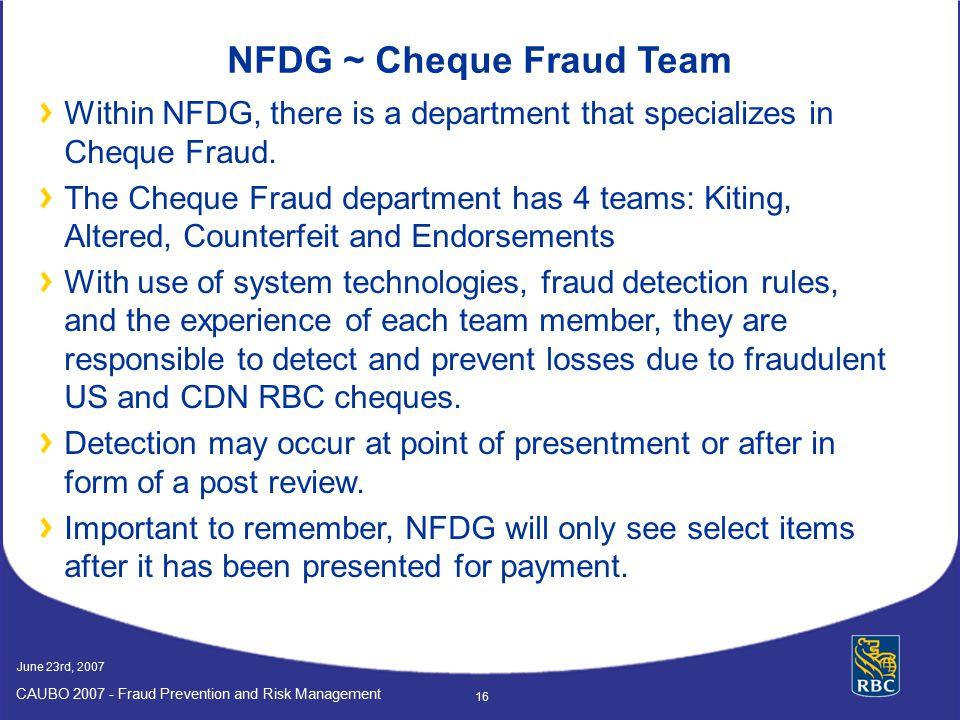 NFDG ~ Cheque Fraud Team