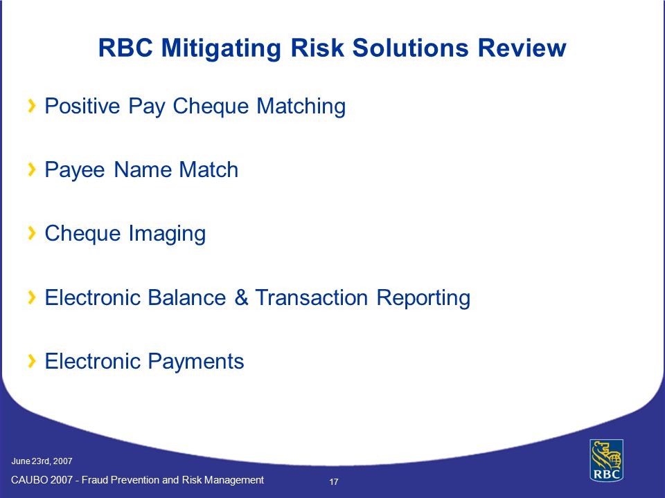 RBC Mitigating Risk Solutions Review