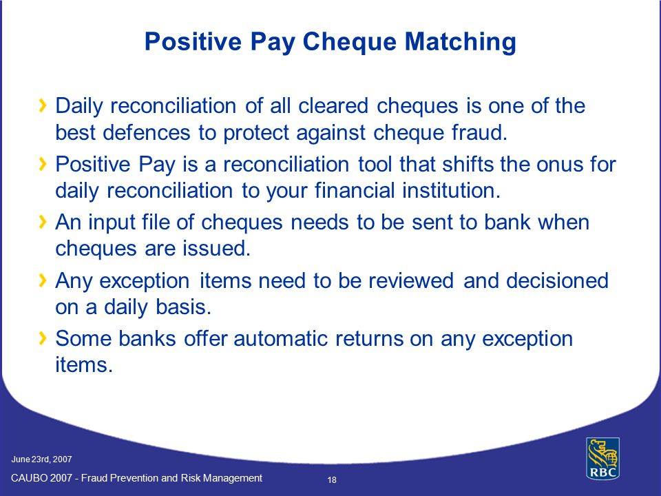 Positive Pay Cheque Matching