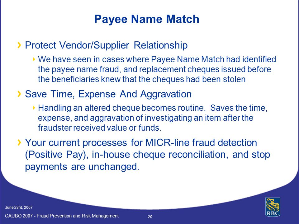 Payee Name Match Protect Vendor/Supplier Relationship