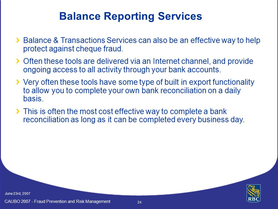 Balance Reporting Services