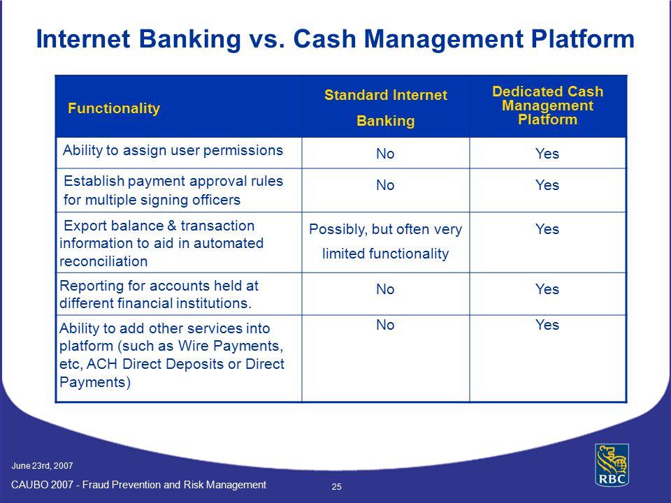 Internet Banking vs. Cash Management Platform